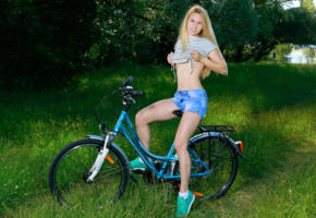 belonika, blonde, outdoors, bicycle, undressing, non nude, demim shorts, running shoes, smile, hi-q, kendell