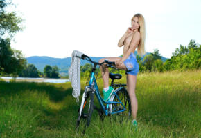 belonika, blonde, outdoors, bicycle, denim shorts, topless, small tits, running shoes, smile, hi-q, kendell
