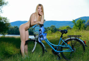 belonika, blonde, outdoors, bicycle, naked, small tits, ass, hi-q, kendell
