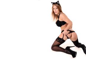 viola bailey, ass, meow, stockings, black stockings, suspenders, lingerie black lingerie, panties, bra