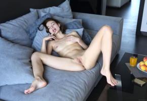 hilary c, aksana k, jane j, liana c, jenna, model, brunette, tits, boobs, open legs, pussy, shaved pussy, labia, legs, sofa, nude