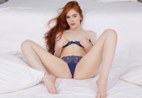 jia lissa, redhead, bra, panties, blue panties, blue bra, lingerie
