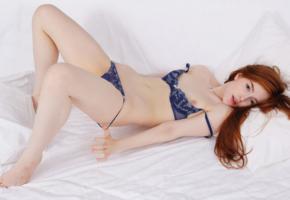 jia lissa, redhead, panties, blue panties, bra, blue bra, lingerie, undressing, tits