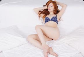 jia lissa, redhead, panties, legs, bra, blue bra, lingerie