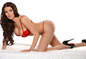 lingerie, boobs, smile, jenna jenovich, big tits, doggy, brunette, red lingerie, high heels