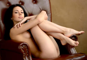 sheri vi, joanna, darina, genie, karina, divina, model, dark hair, long hair, russian, sensual lips, tits, pussy, legs, graceful feet, armchair, nude