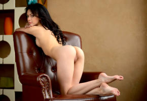sheri vi, joanna, darina, genie, karina, divina, model, dark hair, long hair, russian, sensual lips, back, pussy, shaved pussy, labia, ass, legs, graceful feet, armchair, nude