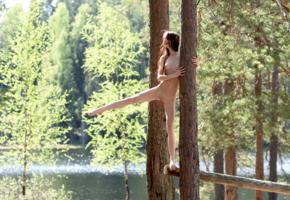 lapa, pala, taressa, model, teen, slim, brunette, trees, lake, river, outdoors, nude
