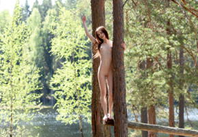 lapa, pala, taressa, model, teen, russian, brunette, trees, river, lake, outdoors, tits, slim, skinny, nude
