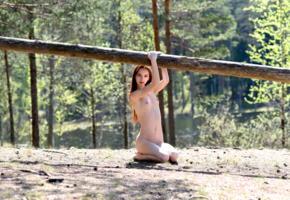 lapa, pala, taressa, model, teen, brunette, russian, long hair, trunk, tits, outdoors, nude, skinny