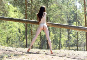 lapa, pala, taressa, model, teen, slim, russian, long hair, brunette, back, pussy, shaved pussy, labia, anus, ass, legs, trunk, outdoors, nude