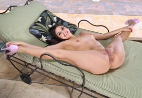 lucy doll, brunette, pool, naked, small tits, shaved pussy, labia, meat curtains, ass, anus, spread legs, smile, high heels, hi-q