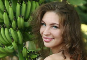 galina a, bananas, nude, brunette, smile