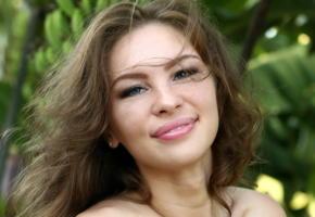 galina a, nude, brunette, smile, face, portrait