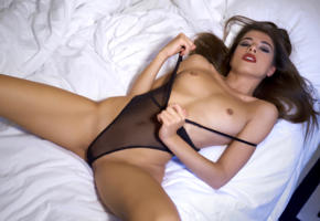 chiara bianchino, model, actress, brunette, italy, sensual lips, tits, hard nipples, underwear, open legs, bed, bedroom, erotic, lingerie