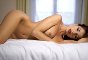 chiara bianchino, model, actress, brunette, pretty, italy, sensual lips, tits, bed, bedroom, nude