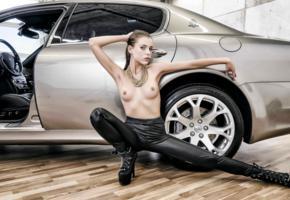 aleksa slusarchi, valeria a, model, brunette, ponytail, tits, hard nipples, topless, leather pants, boots, maserati, maserati quattroporte, car