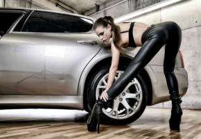aleksa slusarchi, valeria a, model, brunette, ponytail, leather pants, boots, ass, car, maserati, maserati quattroporte, no nude, hi-q, tight clothes, nice rack, sexy ass