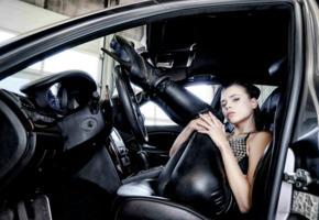 aleksa slusarchi, valeria a, model, brunette, leather pants, high heels, car, maserati, maserati quattroporte, no nude