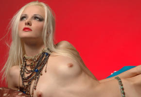 blonde, model, nude, lying, necklace, tits, nipples