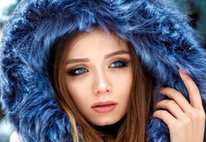 model, pretty, babe, blue eyes, russian, scarf, sensual lips, 4k, face, portrait
