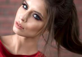 model, brunette, blue eyes, russian, sensual lips, 4k, face, portrait