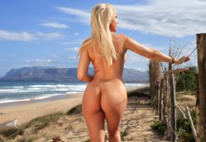 yasmin, blonde, beach, naked, ass, hi-q, tanned, sea