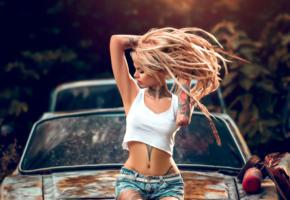 model, blonde, russian, undershirt, long hair, tattoo, rusty car, 4k, car, shorts