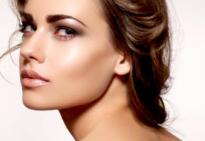 model, brunette, green eyes, sensual lips, 4k, face, portrait