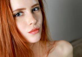 bella milano, model, redhead, russian, blue eyes, freckles, sensual lips, face, portrait