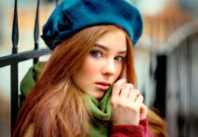 model, redhead, russian, sensual lips, hat, beanie, 4k, face, portrait