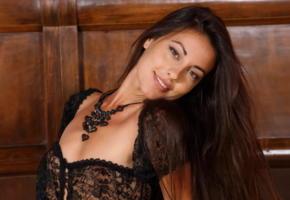 lorena b, lorena garcia, black lingerie, brunette