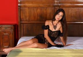 lorena b, lorena garcia, black lingerie, brunette, tanned, cute