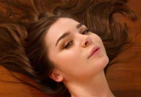 lily c, face, sensual lips, portrait, brunette