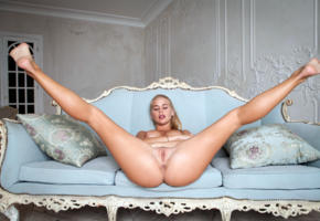 sarika, sarika a, anna s, darina a, davina, blonde, sofa, naked, big tits, nipples, shaved pussy, landing strip, labia, ass, anus, spread legs, hi-q
