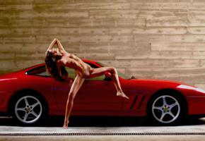 model, melinda, nude, car, ferrari, ferrari maranello, 4k, tits, boobs