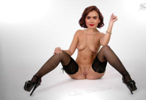 lily collins, actress, brunette, necklace, legs spread, pussy, shaved, stockings, high heels, posing, photoshoot, smile, low quality, black stockings