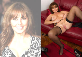 carol vorderman, actress, brunette, legs spread, pussy, shaved, stockings, posing, sofa, smile, low quality, collage