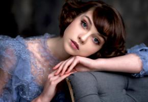 olya pushkina, model, pretty, babe, dark hair, blue eyes, russian, sensual lips, 4k, face, portrait