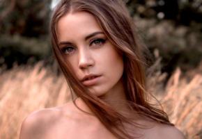 ksenia kokoreva, model, pretty, babe, brunette, long hair, sensual lips, face, portrait