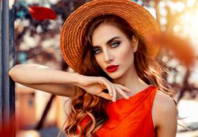 model, brunette, sensual lips, russian, juicy lips, hat, face, 4k, portrait