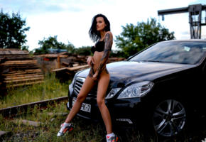 model, tattoo, black bra, bra, black panties, panties, dark hair, tanned, gym shoes, mercedes, car, outdoors
