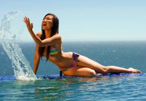 bikini, asian, rainbow, splash, sea, pool, wet, brunette