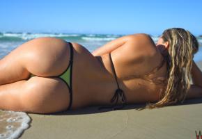 bikini, buns, ass, thong, tanned, wet, back, sexy ass, sea, beach
