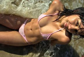 bikini, black hair, surf, smile, wet, sea, sexy, brunette