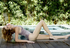 lena anderson, blaire ivory, model, swimsuit, wet, beautiful legs, outdoors, pool, no nude