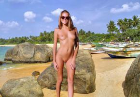 katya clover, clover, mango, mango a, beach, boats, naked, tanned, tits, perky nipples, shaved pussy, sunglasses, smile, hi-q