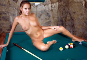 katya clover, clover, mango, mango a, dirty blonde, pool table, naked, tanned, tits, shaved pussy, labia, spread legs, tattoo, hi-q