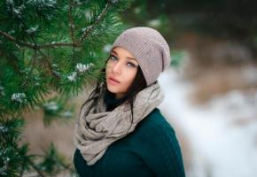 brunette, sweet, cute, look, hat, winter, pine tree, angelina petrova, beanie