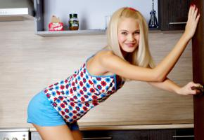 talia, blonde, sweet, cute, sexy girl, kitchen, non nude, smile, shorts, susya, talia cherry, talia blonde, blonde goddess